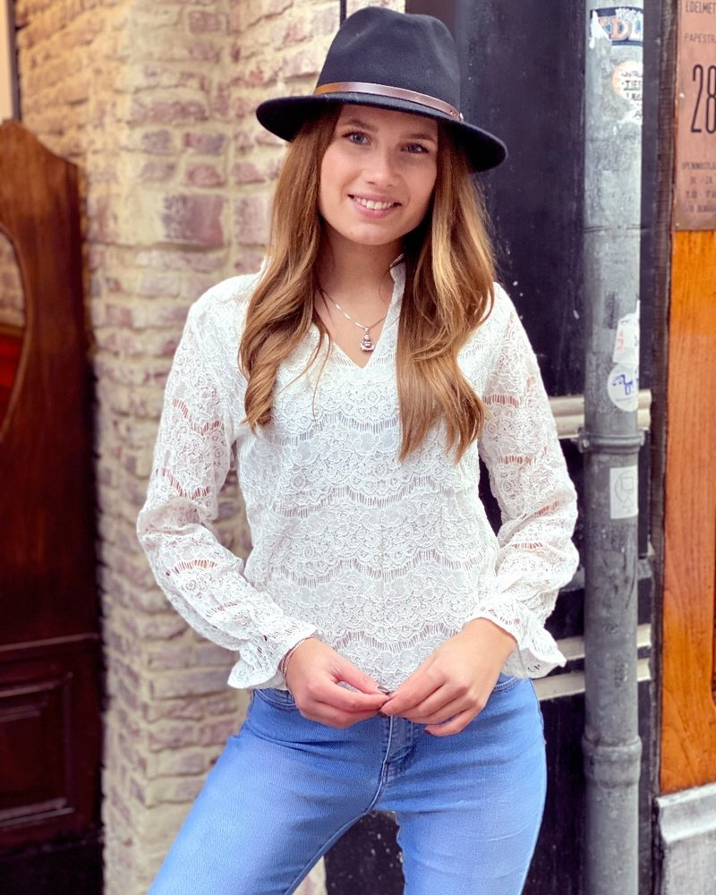 Lilah V Neck Lace Blouse - White