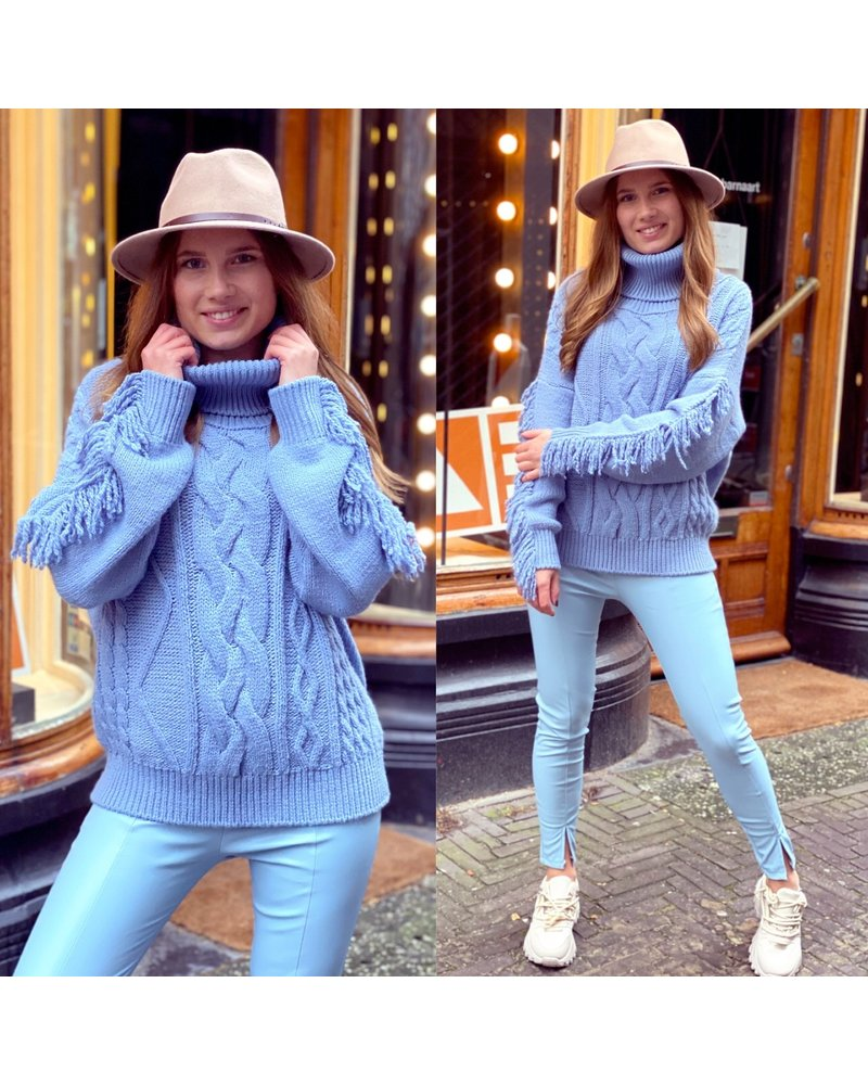 Musthave Fringe Sweater - Blue
