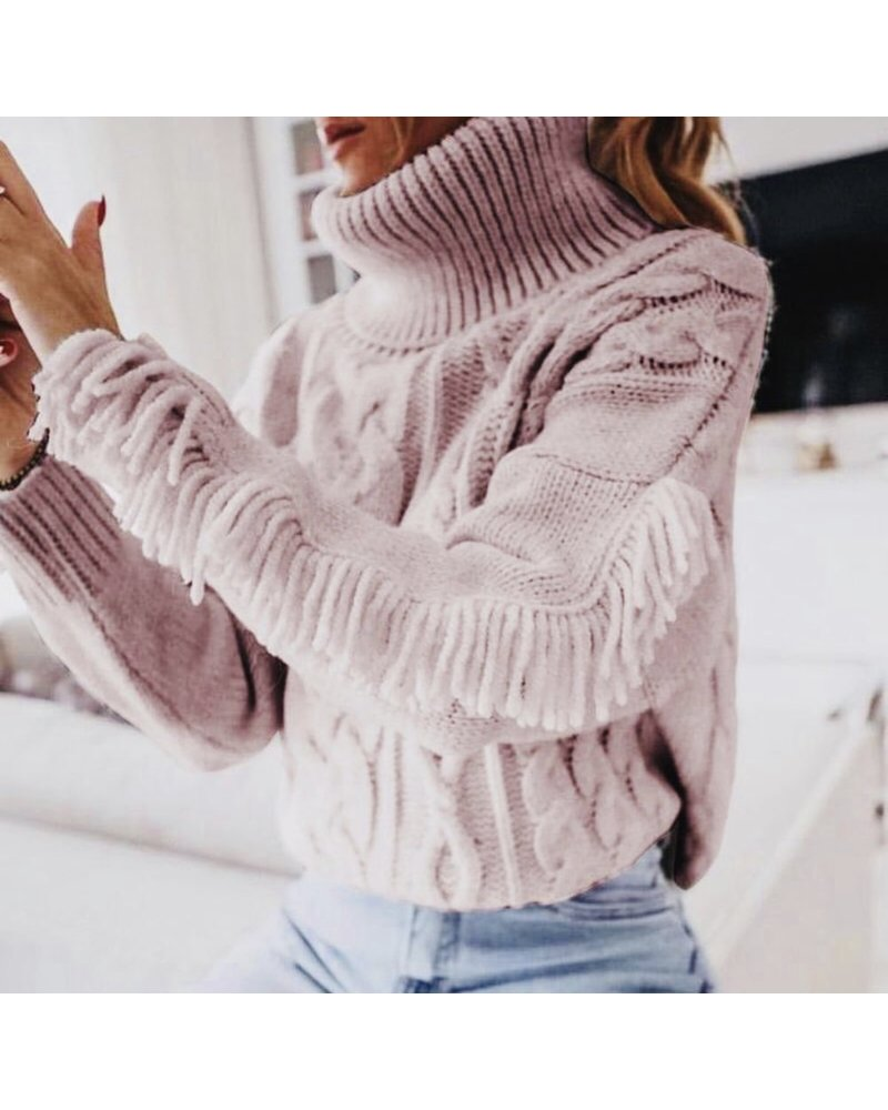 Musthave Fringe Sweater - Pink