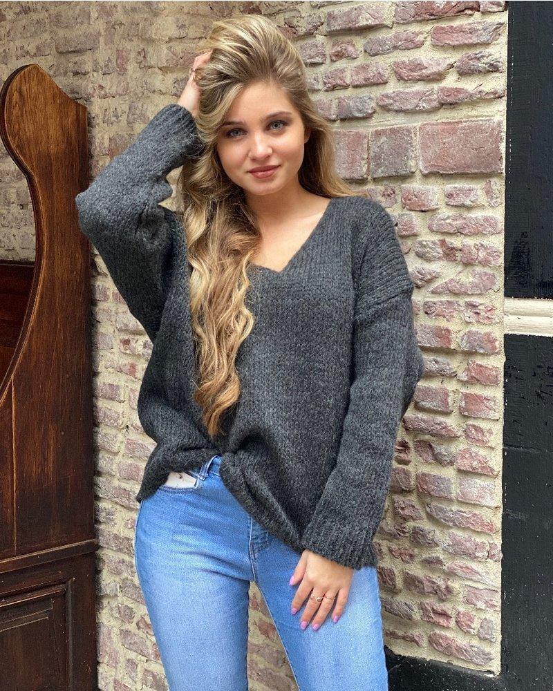 Emma V Neck Sweater - Dark Grey