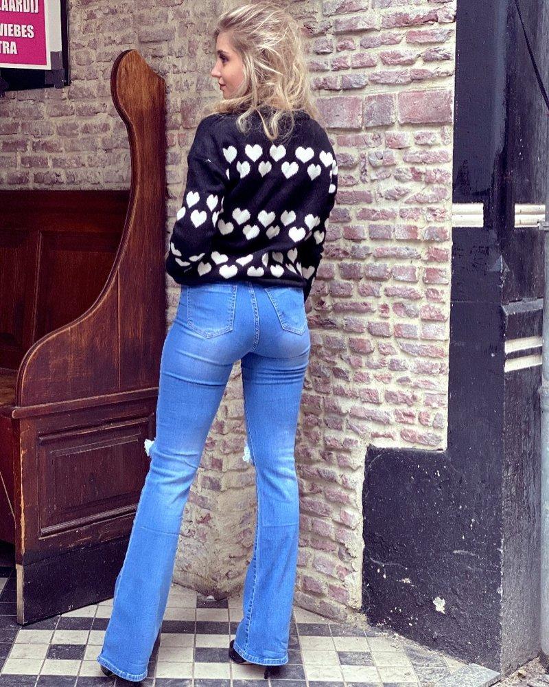 Zoë Double Knee Flare - Blue