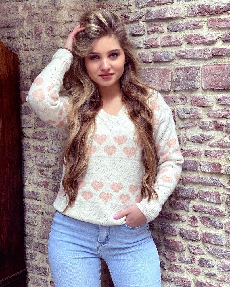 Heart V Neck Sweater - White