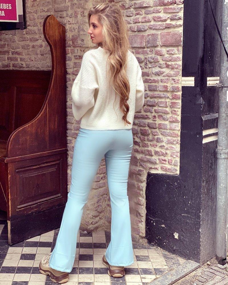 Emily Leather Split Flare - Light Blue