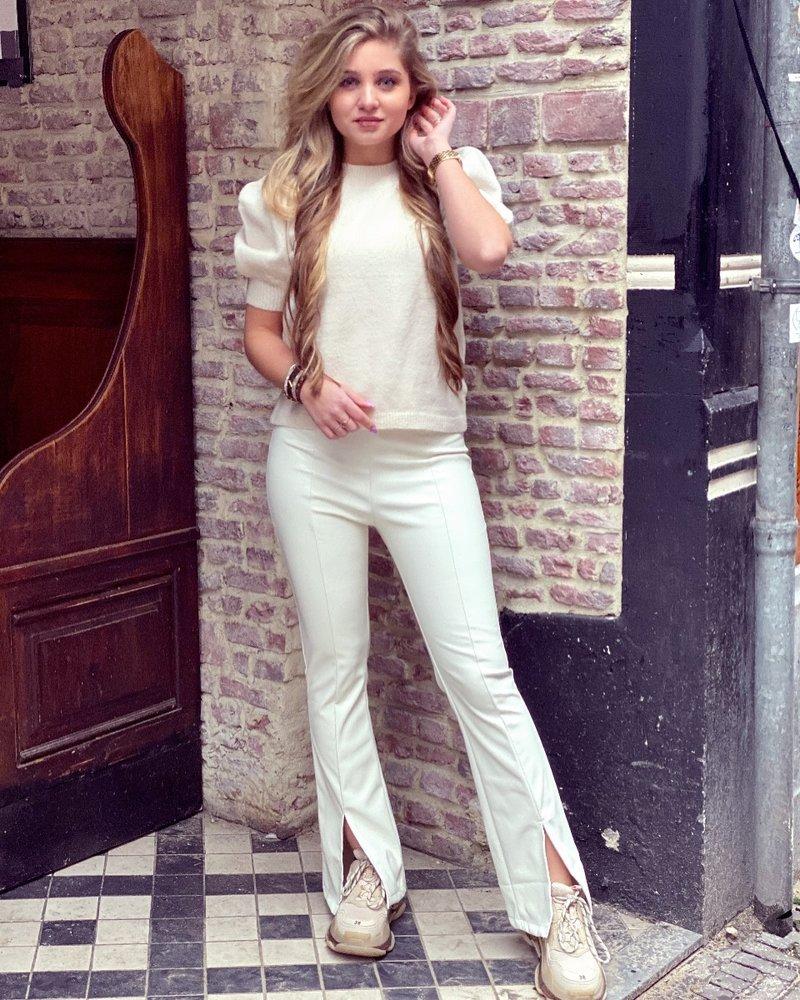 Emily Leather Split Flare - Off White