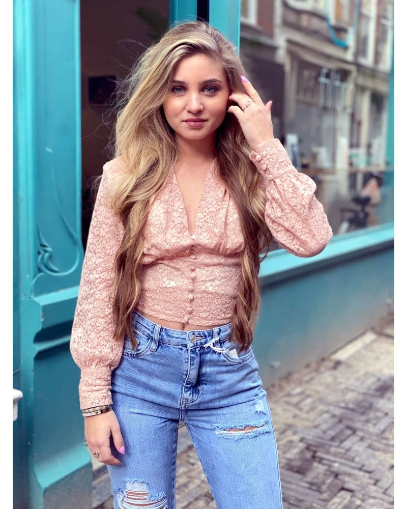 Lana Lace Crop Top - Light Pink