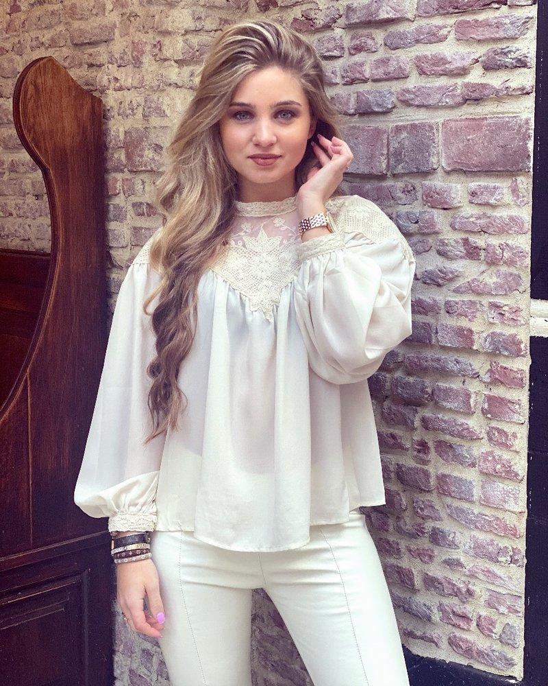 Emilia Lace Blouse - Beige