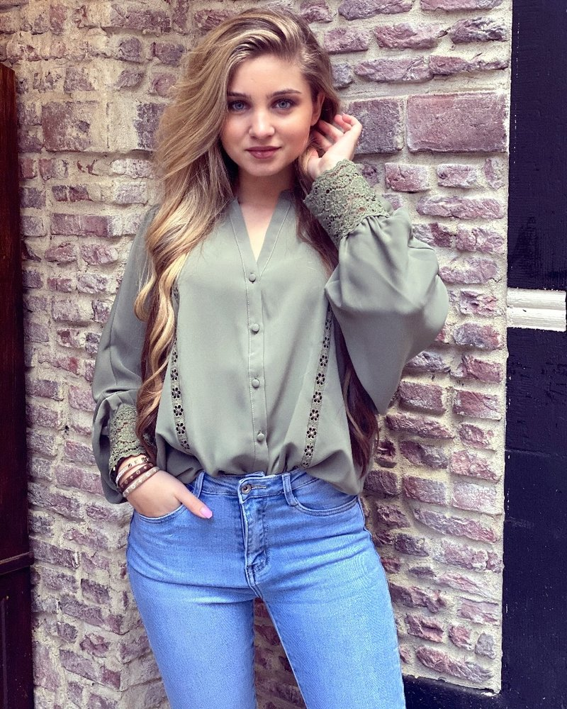 Felicia Lace Blouse - Army Green