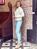 Emily Leather Split Legging - Light Blue