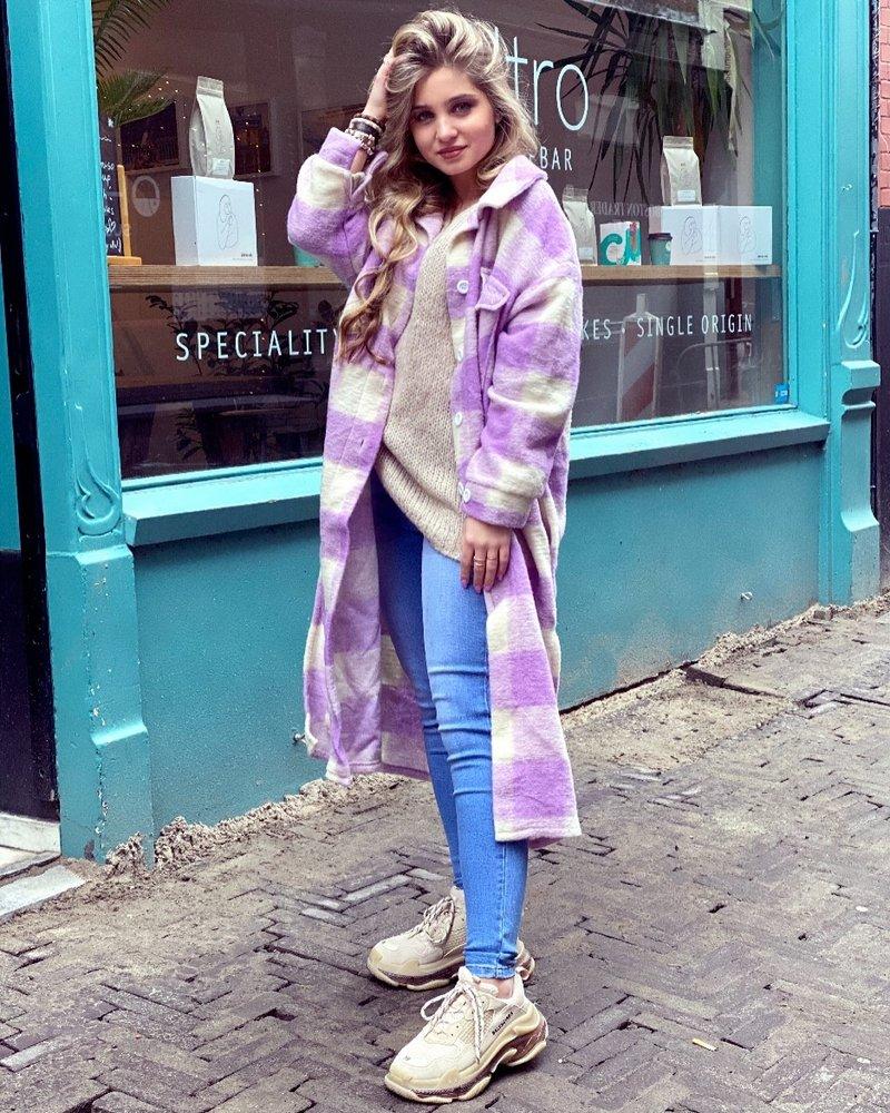 Chloe Checkered Coat - Lila