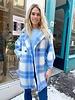 Charlotte Checkered Coat - Light Blue