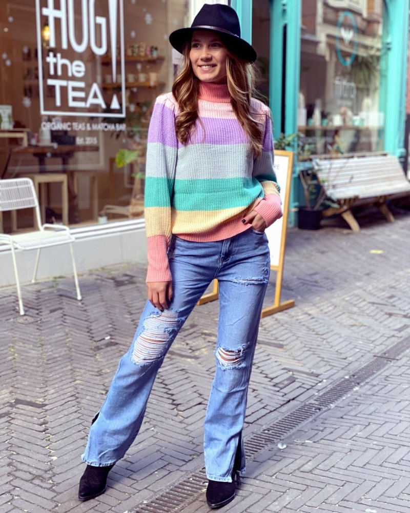 Ripped Straight Split  Jeans - Denim