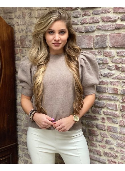Puffy Short Sleeve Sweater - Taupe