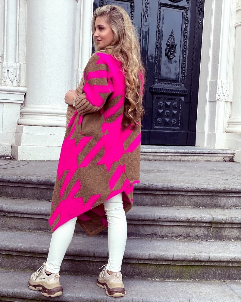 Kate Vest - Fuchsia- Camel