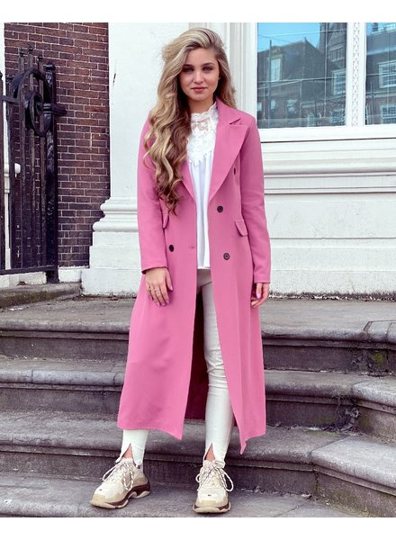 Joanne Long Coat - Old Pink