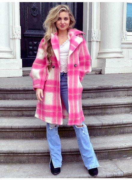 Charlotte Checkered Coat - Pink