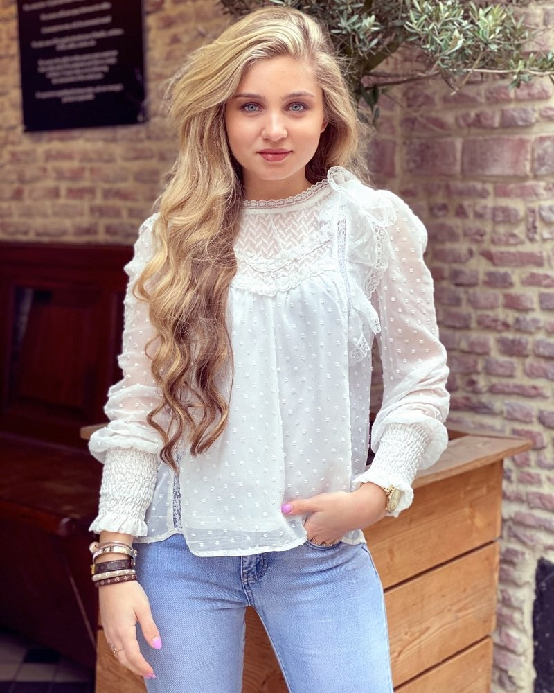 Bohemian Dotted Blouse - White