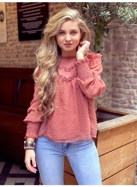 Bohemian Dotted Blouse - Old Pink