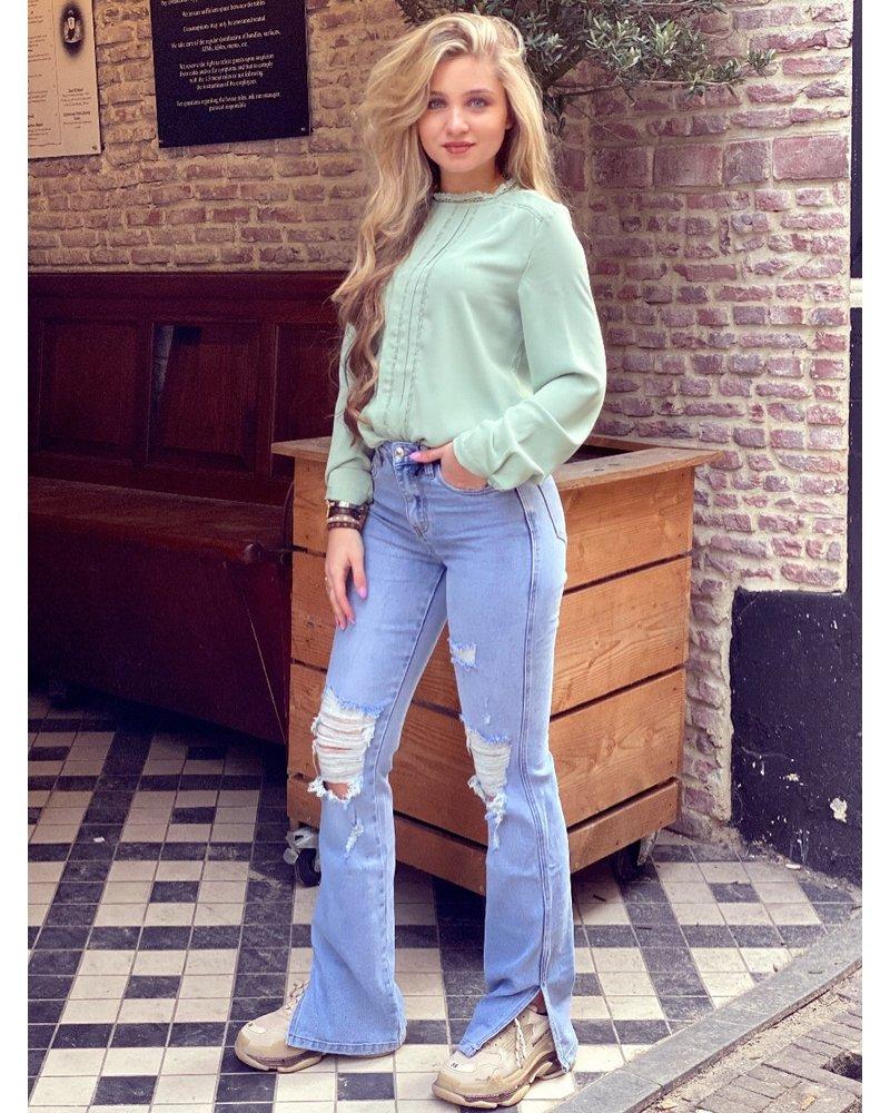 Ripped Stretch Split Jeans - Denim