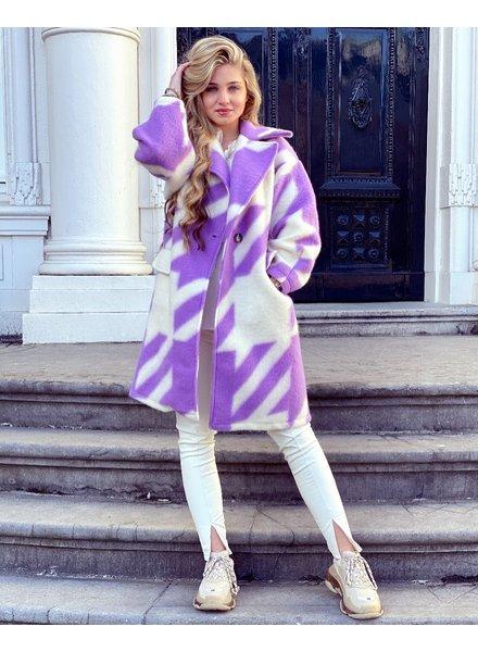 Feline Houndstooth Coat - Lila White