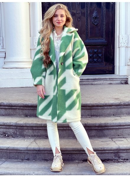 Feline Houndstooth Coat - Green White