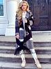 Roxy Fringe Coat - Black Grey