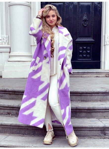 Jackie Houndstooth Coat - Lila / White