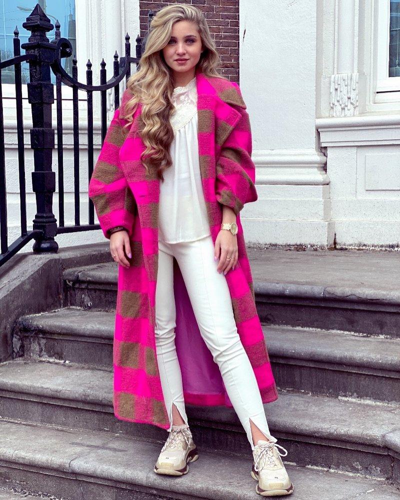 Jackie Checkered Coat - Fuchsia / Brown