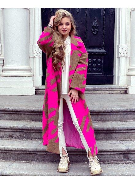 Jackie Houndstooth Coat - Fuchsia / Brown