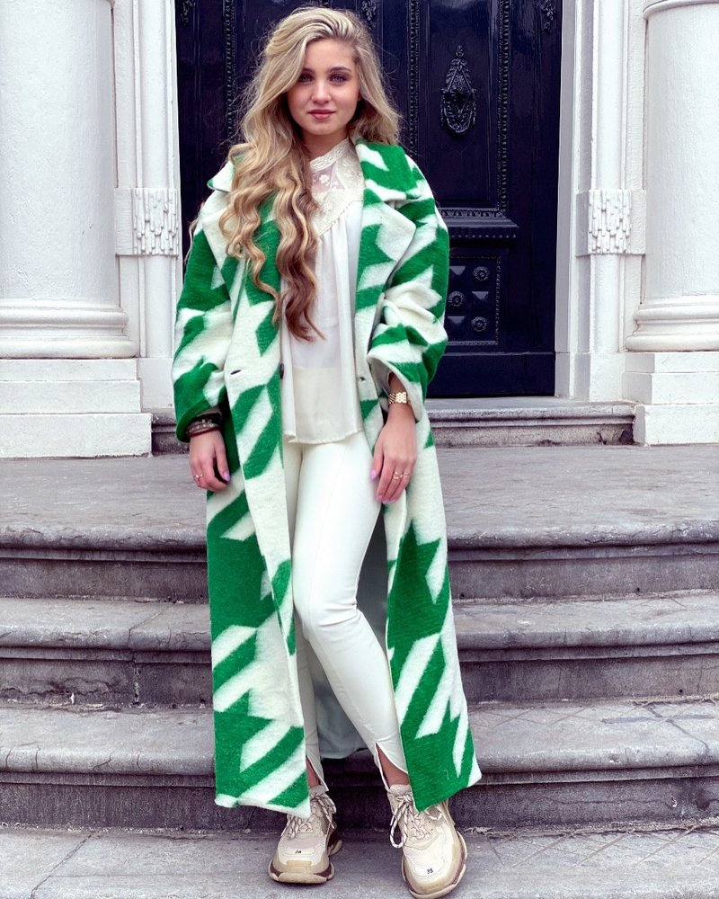 Jackie Houndstooth Coat - Green / White