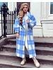 Jackie Checkered Coat - Blue