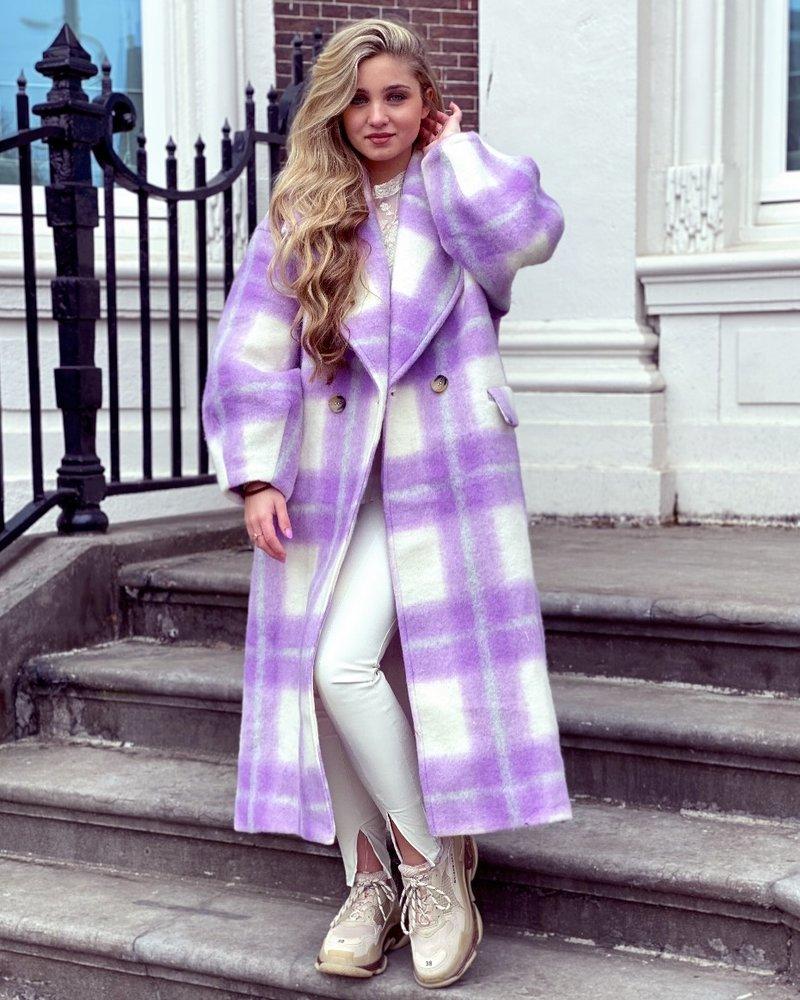 Jackie Checkered Coat - Lila / White