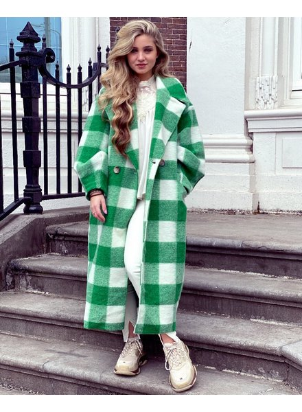Jackie Checkered Coat - Green / White