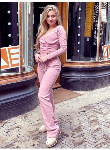 Mandy Cropped Set - Light Pink