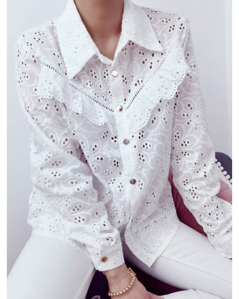 Lizzy Flower Blouse - White