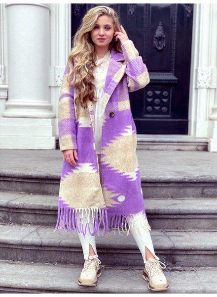 Roxy Fringe Coat - Lilac