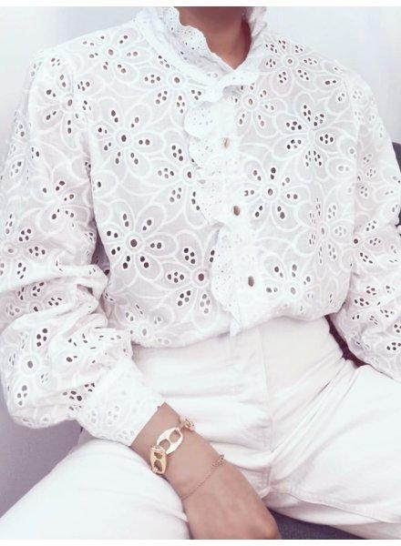 Laura Flower Blouse - White