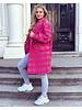 Short Jackie Houndstooth Coat - Fuchsia / Brown