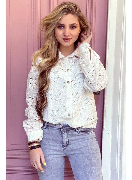 Lizzy Flower Blouse - White