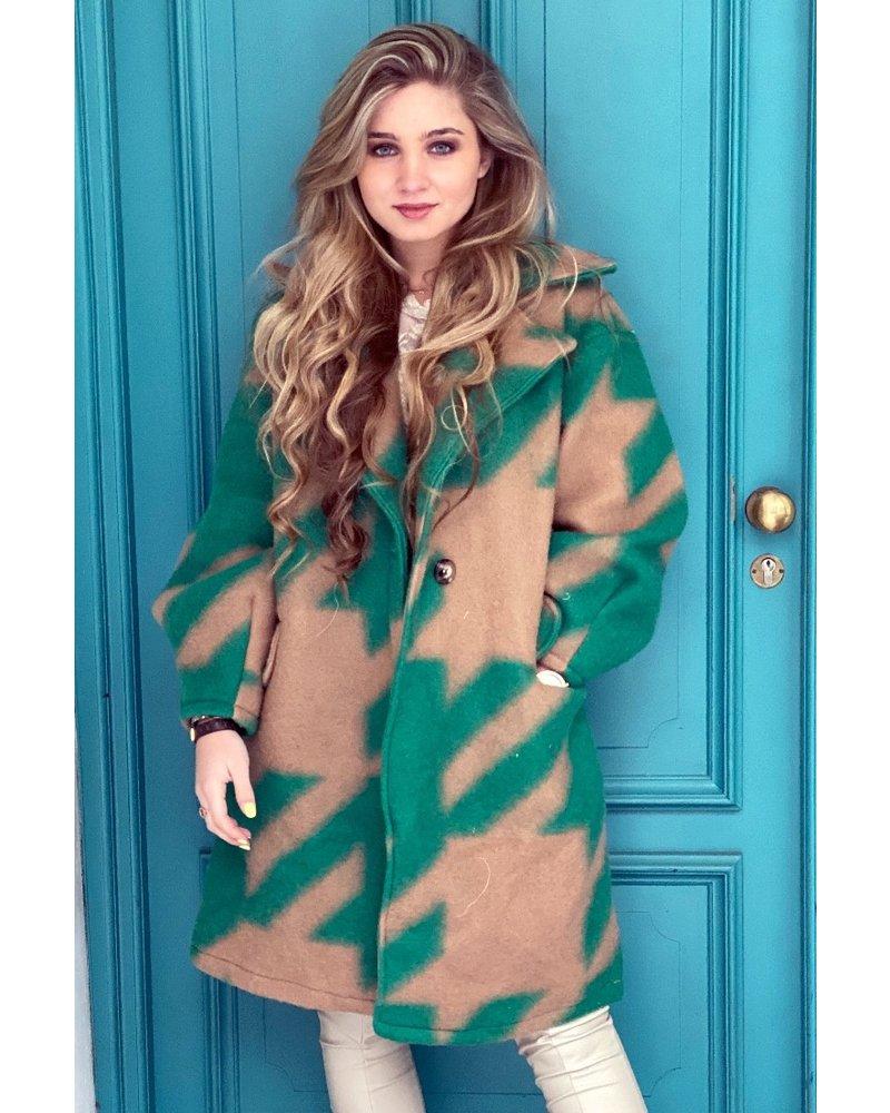 Feline Houndstooth Coat - Green Camel