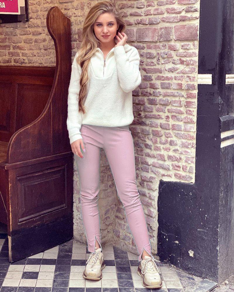 Emily Leather Split Legging - Light Pink