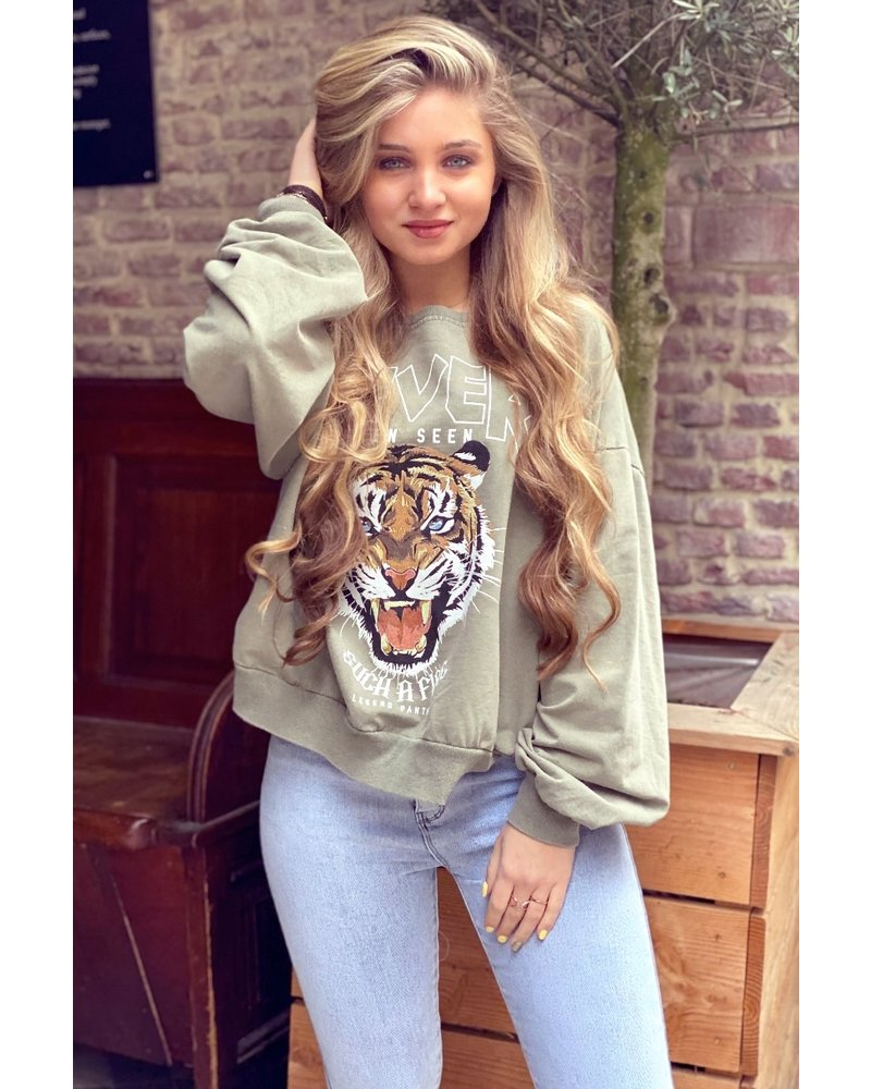Oversized Tiger Sweater - Green