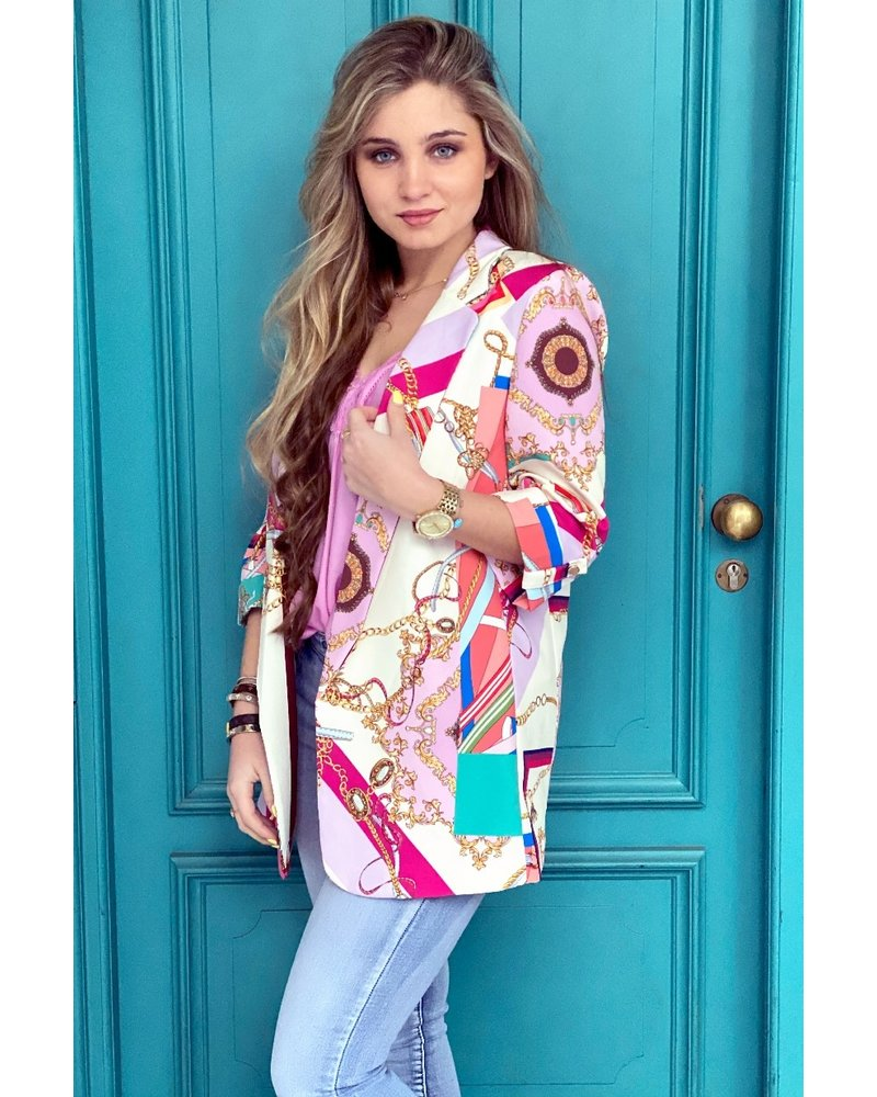 Eva Chain Blazer - Pink