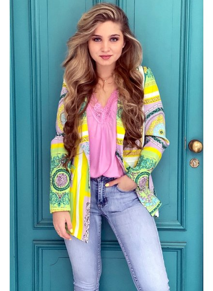 Pippa Pattern Blazer - Green / Yellow