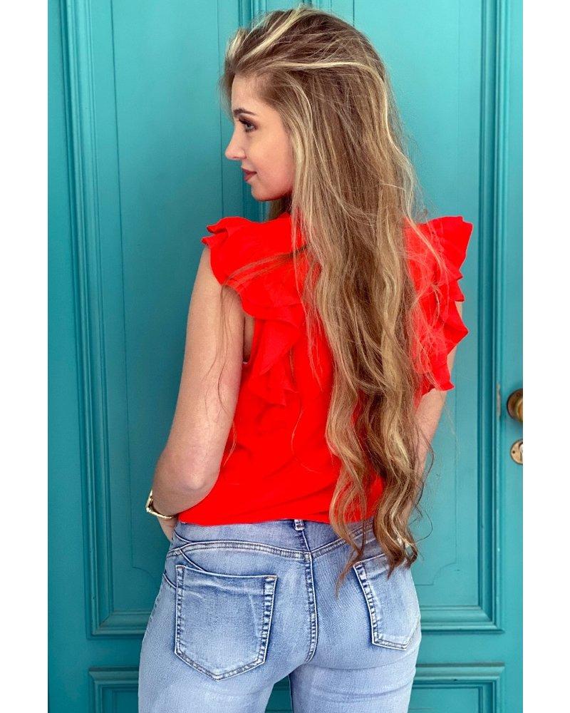 Zoë Ruffle Top - Red