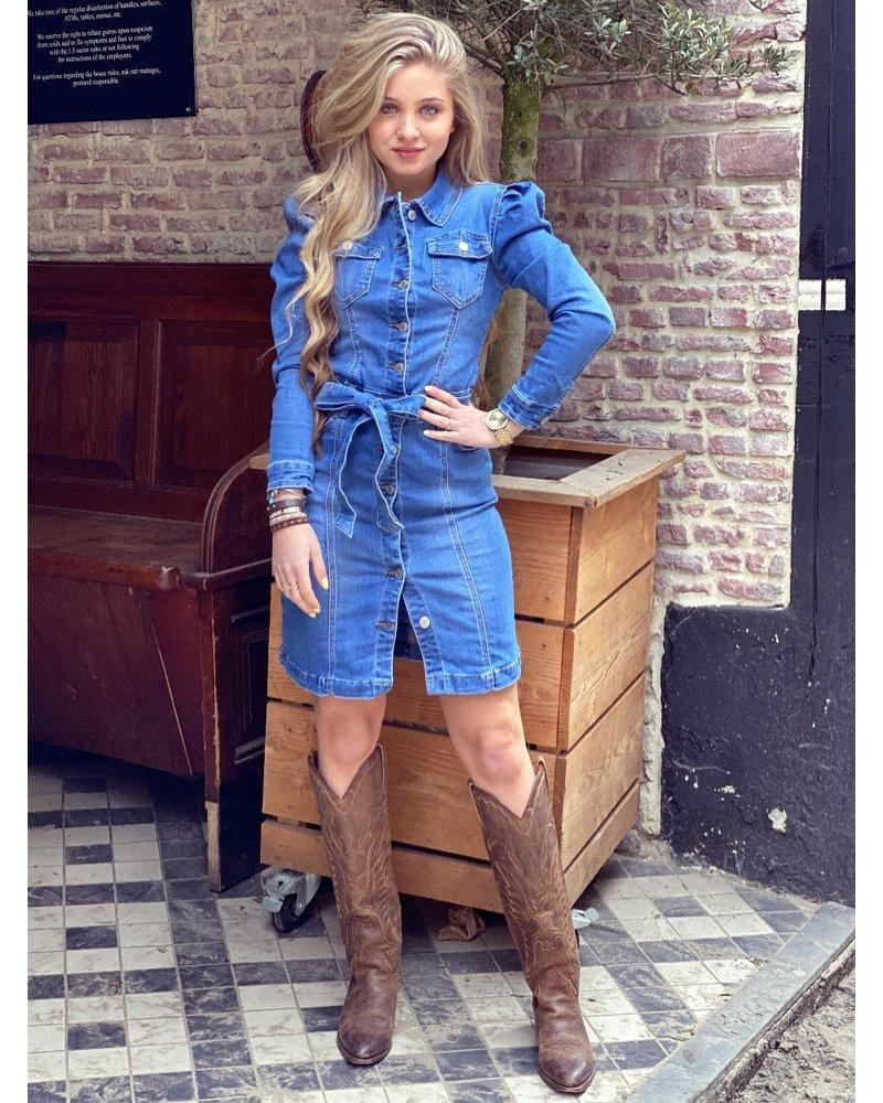 Denim Puffy Sleeve Dress - Blue