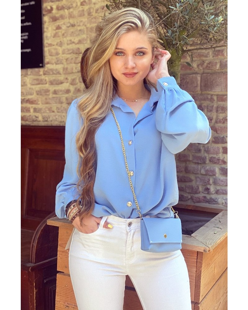 Ruby Blouse with Bag - Blue / Gold