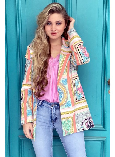Liv Pattern Blazer - Mint / Peach