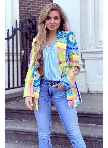 Puck Pattern Blazer - Blue Yellow