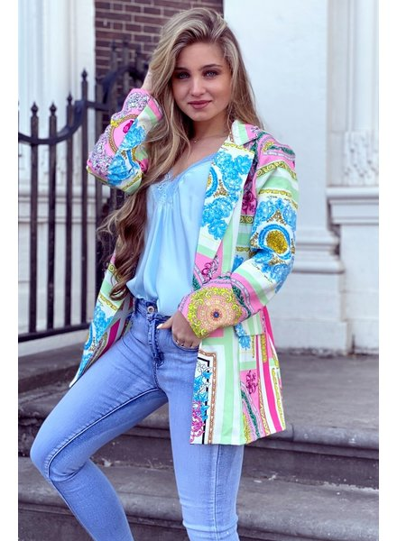 Puck Pattern Blazer - Mint Pink