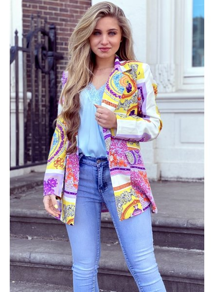 Puck Pattern Blazer - Purple Yellow